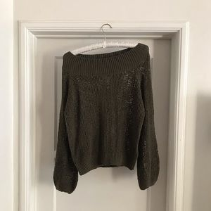 Billabong Olive Green Off the Shoulder Sweater